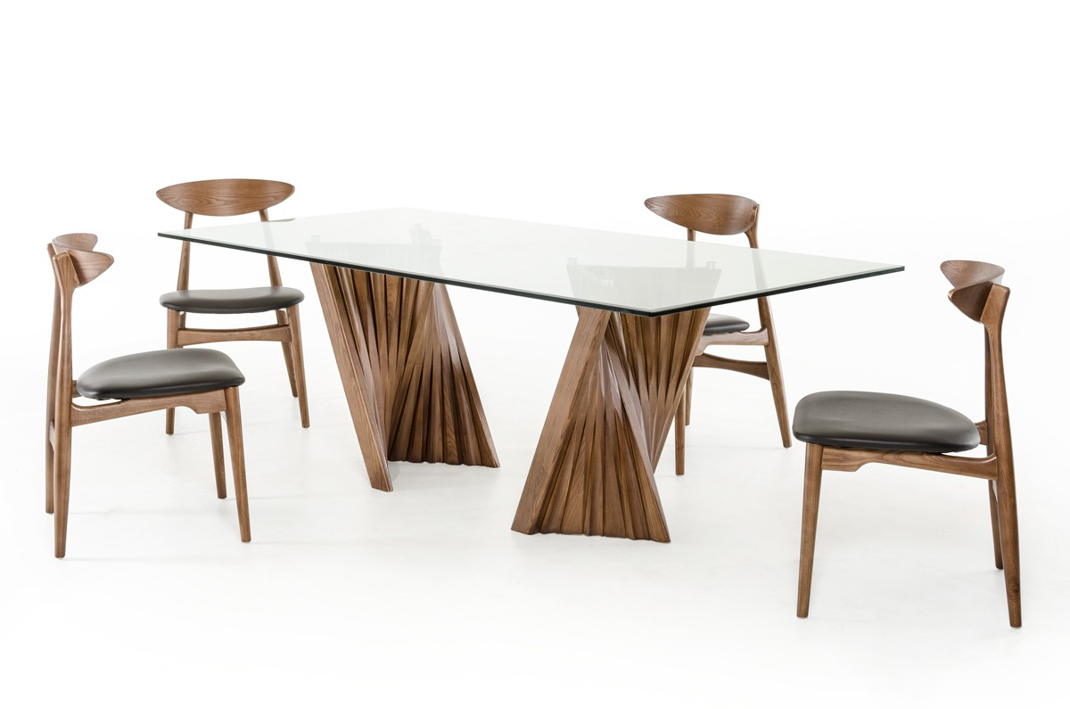 Modrest Corbin Modern Walnut Glass Dining Table Modern