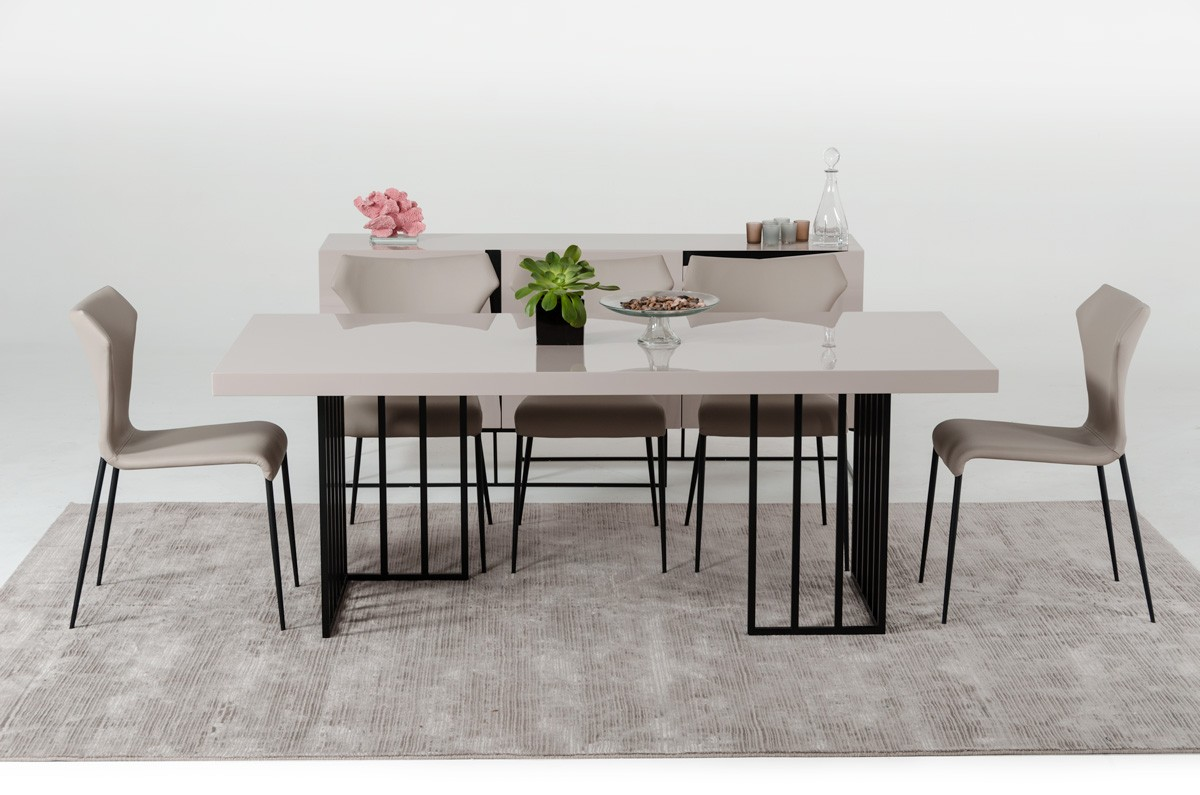 Modrest Hope Modern Grey Gloss Dining Table