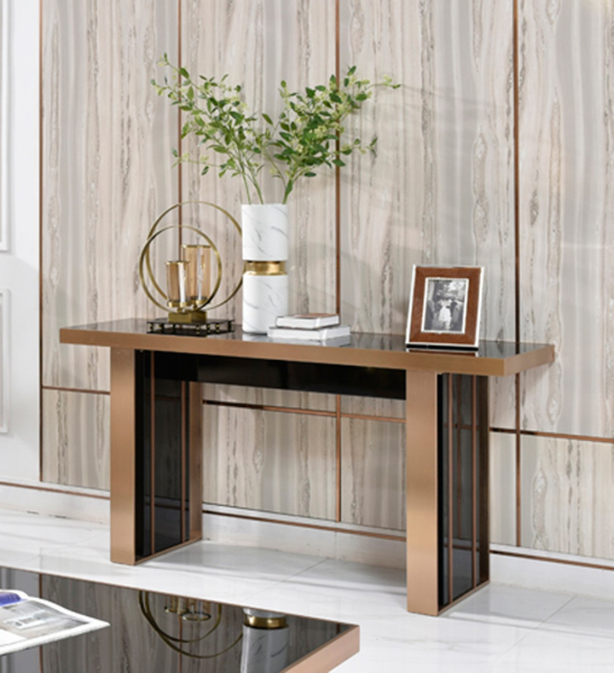 Nova Domus Cartier Modern Black & Rosegold Console Table