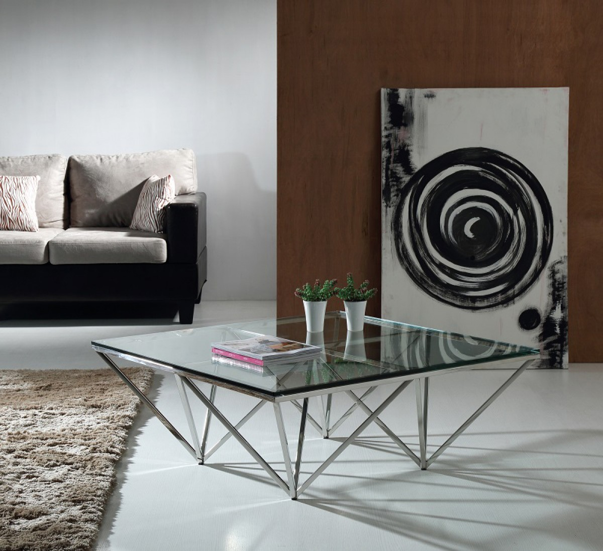 Modrest Upton Modern Square Glass Coffee Table Coffee: Modrest Newark Contemporary Glass Coffee Table