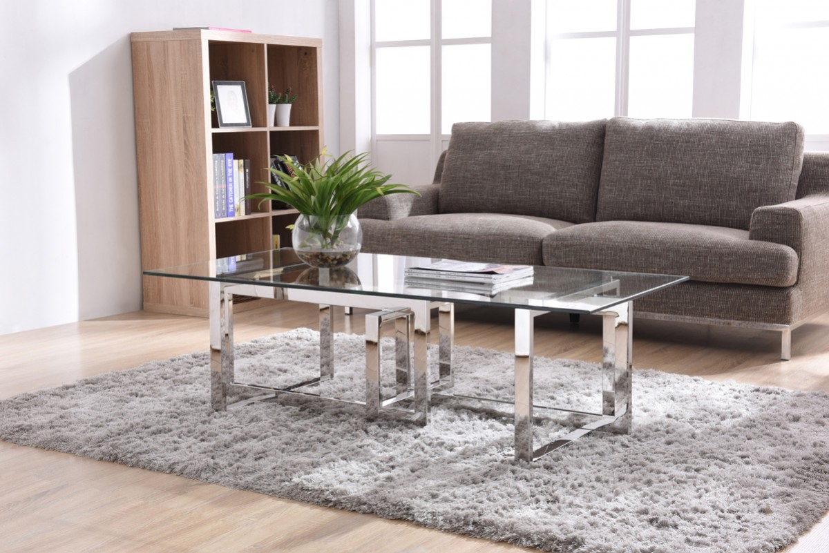 Modrest Valiant Modern Glass Stainless Steel Coffee Table