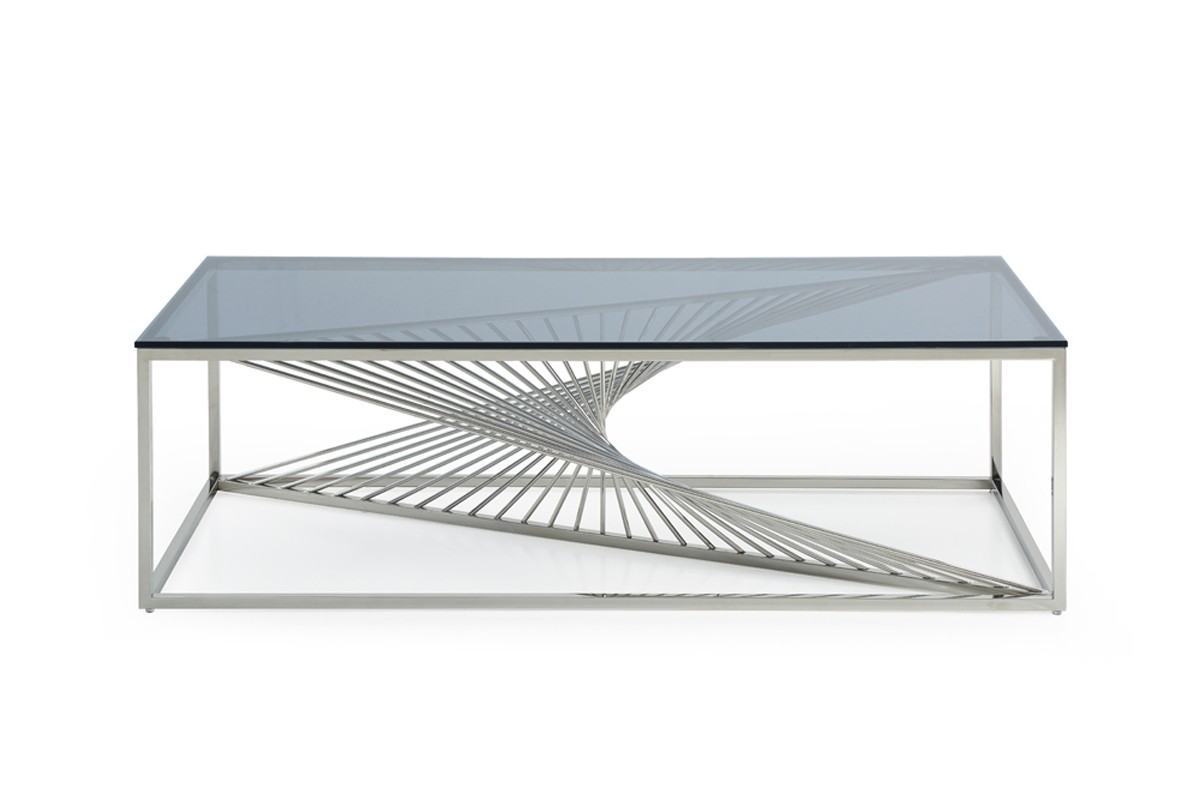 Modrest Trinity Modern Glass Stainless Steel Coffee Table