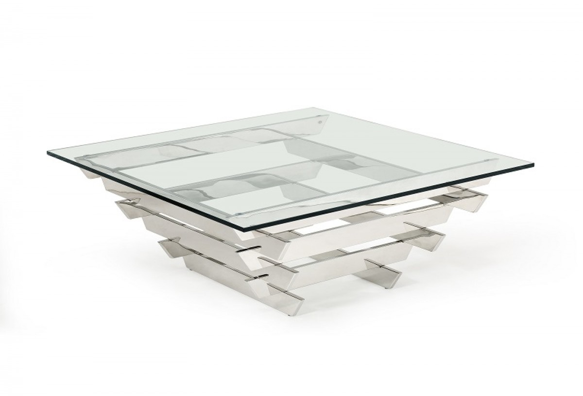 square glass coffee table Modrest Upton Modern Square Glass Coffee Table square glass coffee table