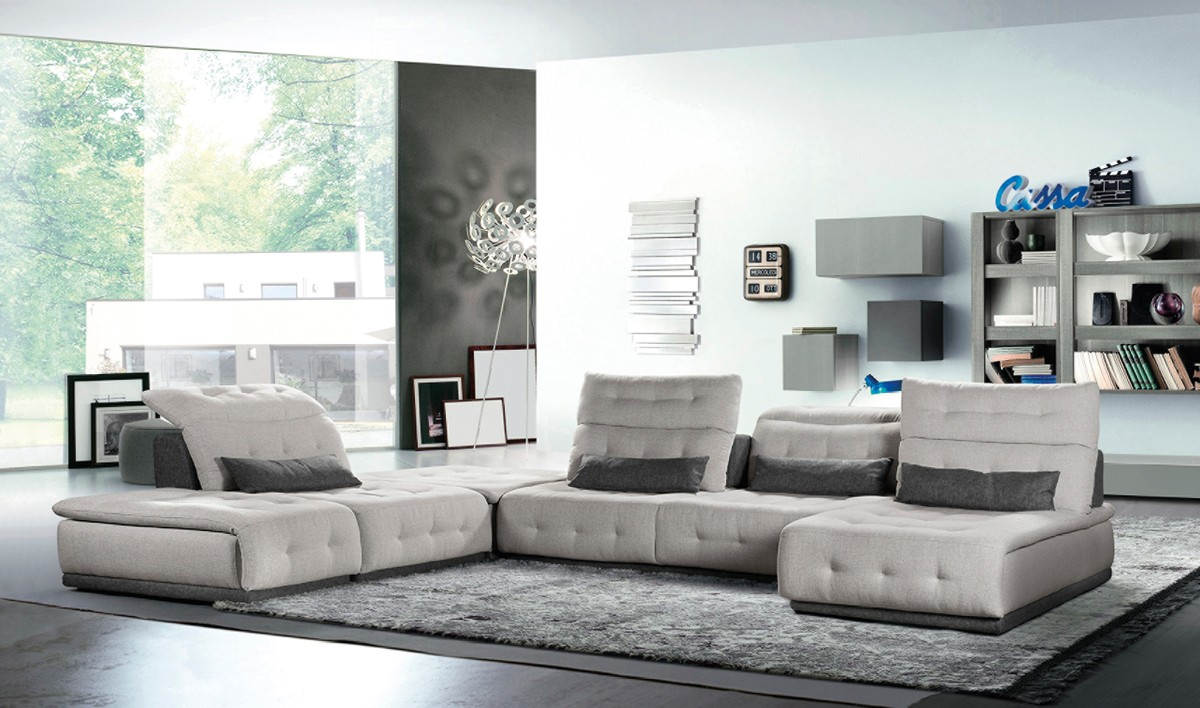 Picture of: David Ferrari Daiquiri Italian Modern Light Grey Dark Grey Fabric Modular Sectional Sofa Sectionals Living Room