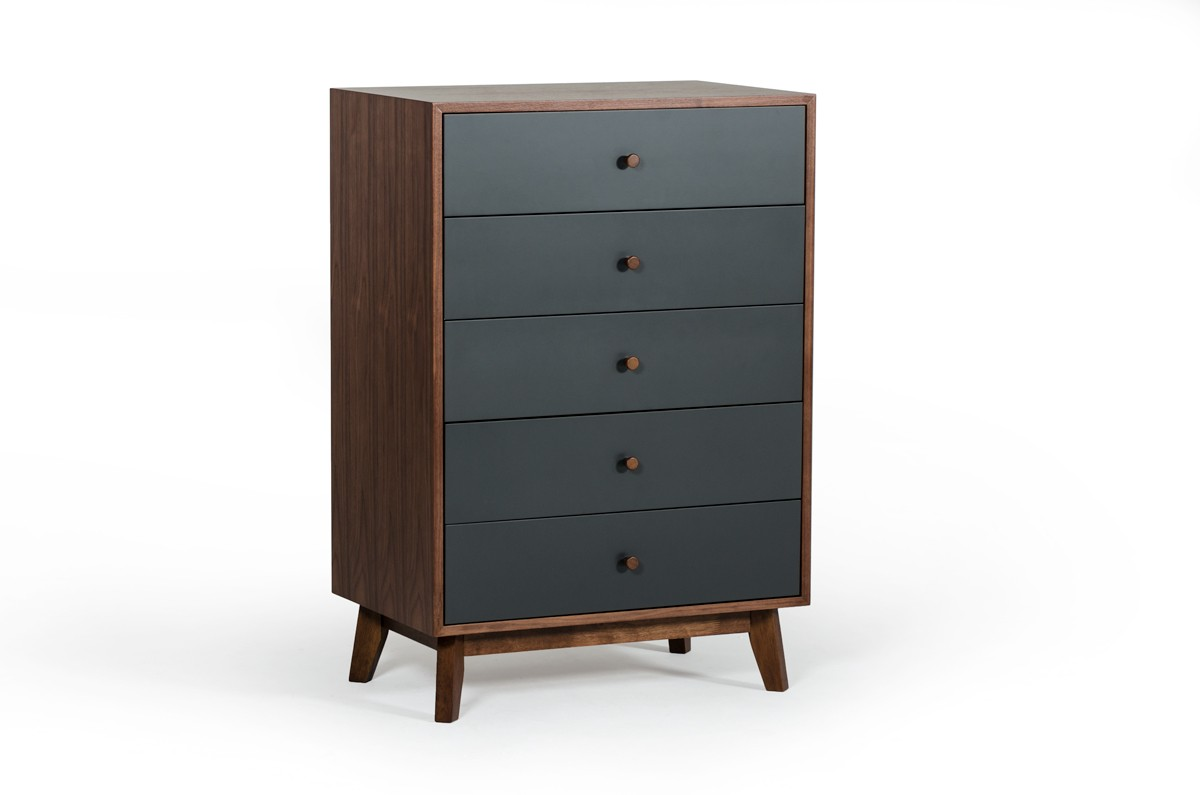Nova Domus Dali Modern Grey & Walnut Chest - Chests - Bedroom