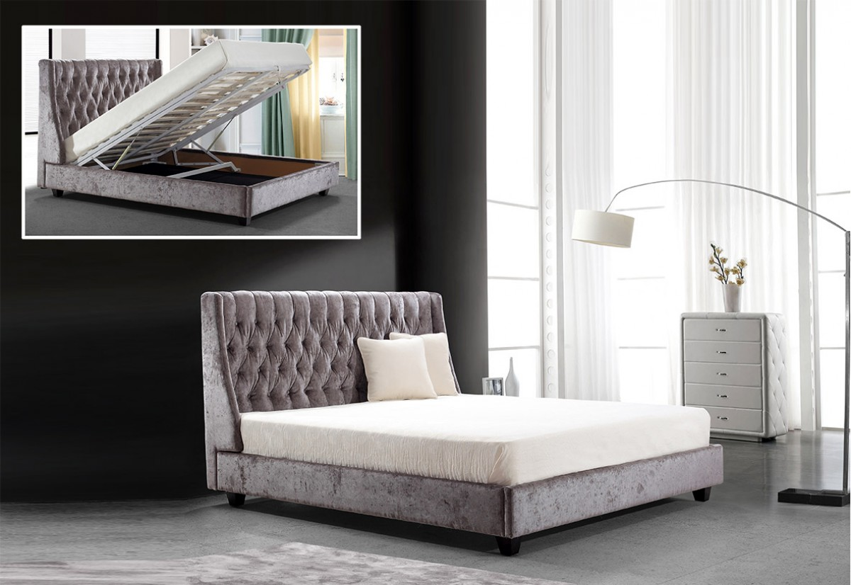 Modrest Dane Transitional Tufted Fabric Bed With Lift
