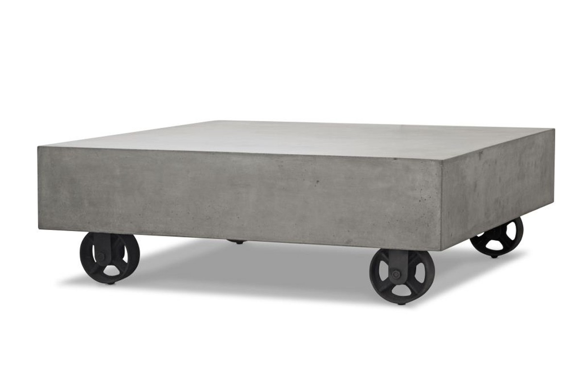 Amazing Modrest Darco Modern Concrete Coffee Table W/ Wheels