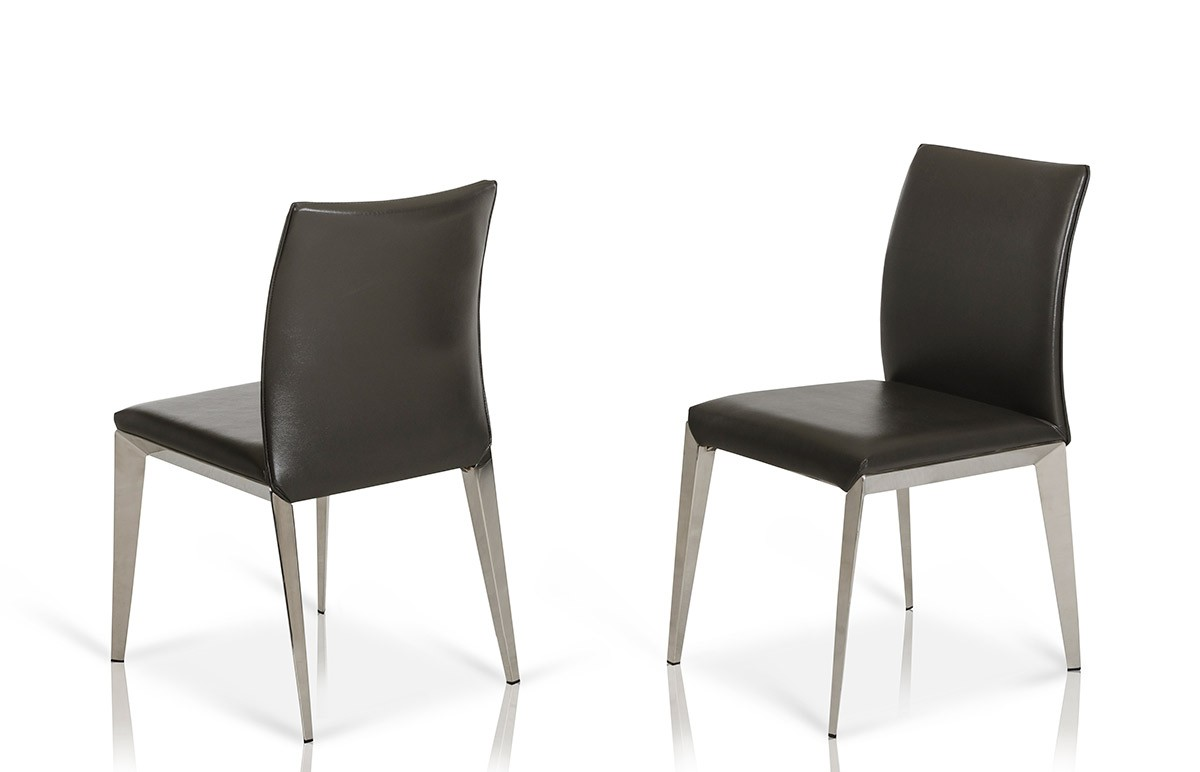 modern leather dining chairs Daytona   Modern Dark Grey Eco Leather Dining Chair (Set of 2) modern leather dining chairs