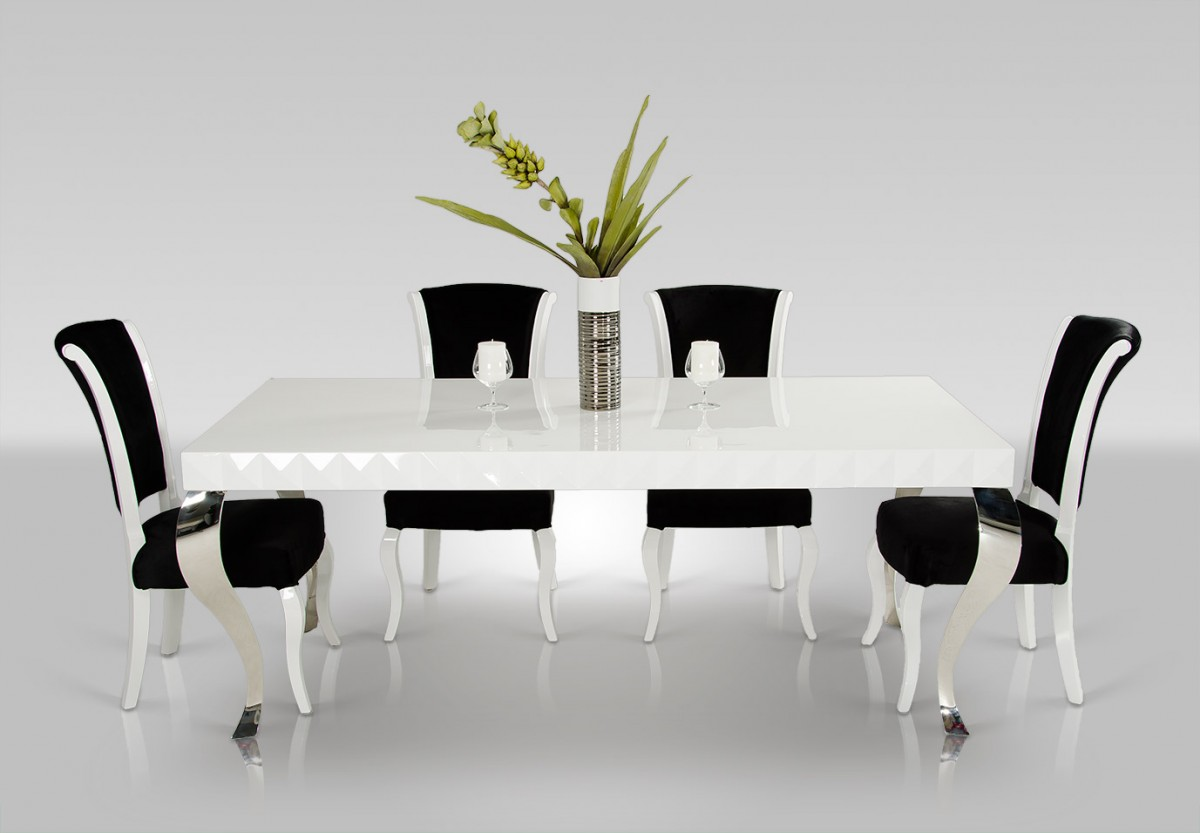 Versus Mia White Lacquer Modern Dining Table