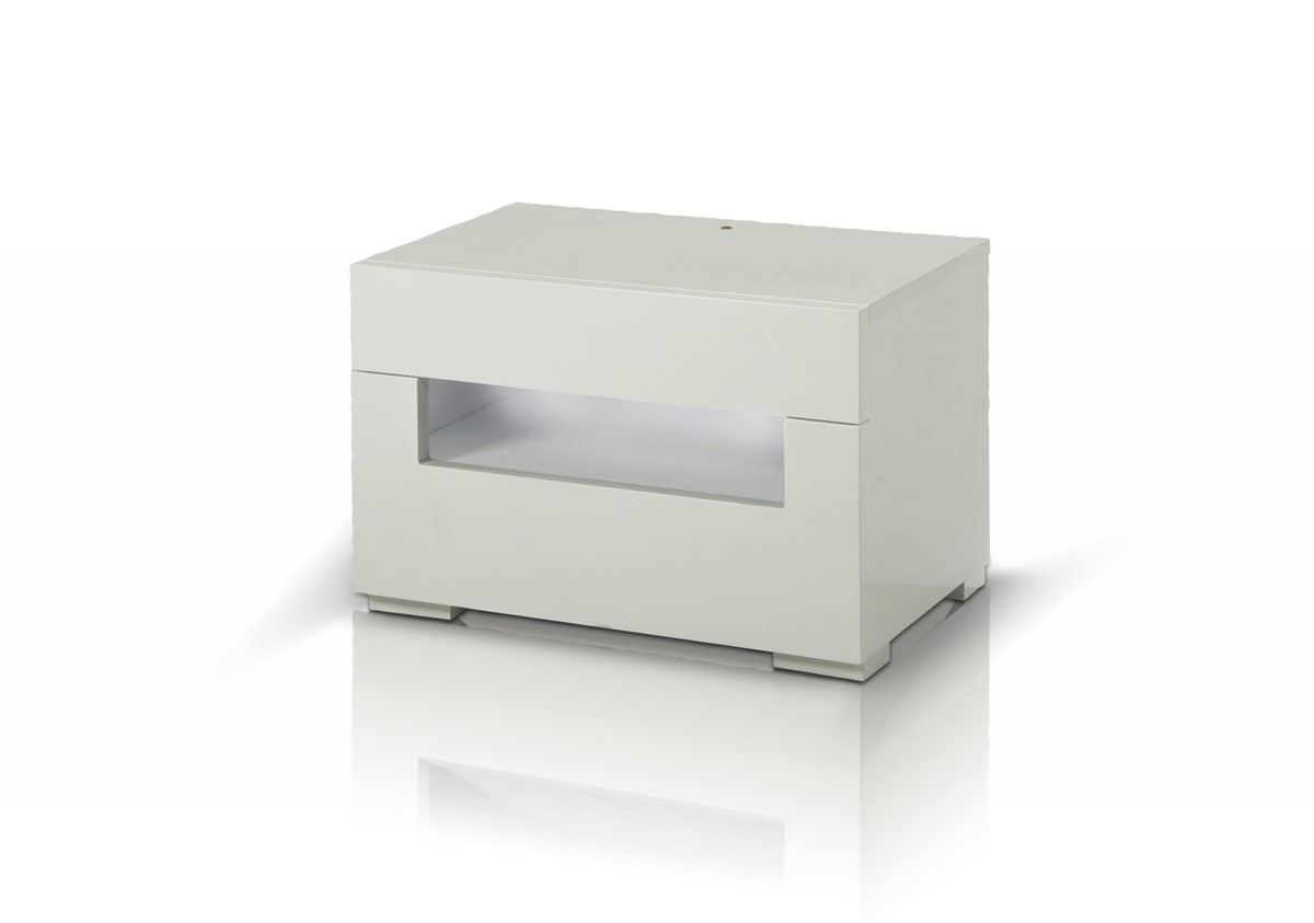 Modrest Ceres   Modern LED White Lacquer Nightstand ...
