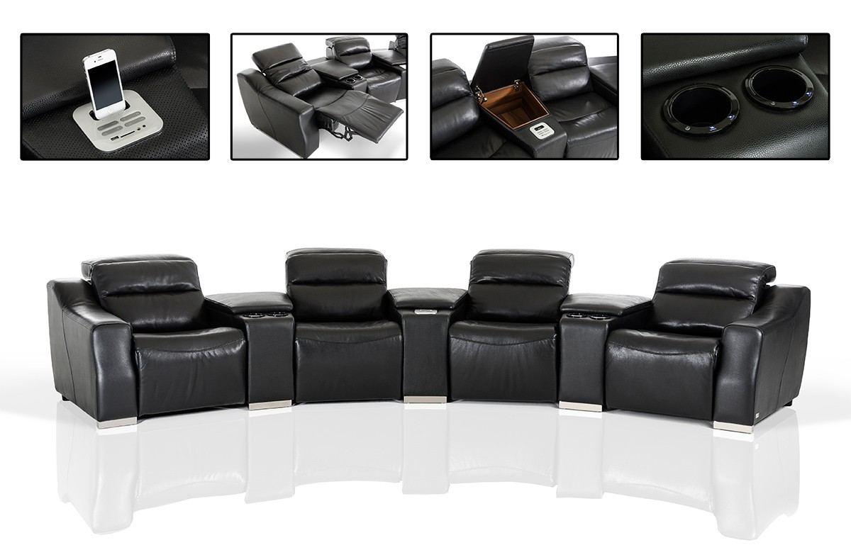 Black Sectional Sofas With Recliners