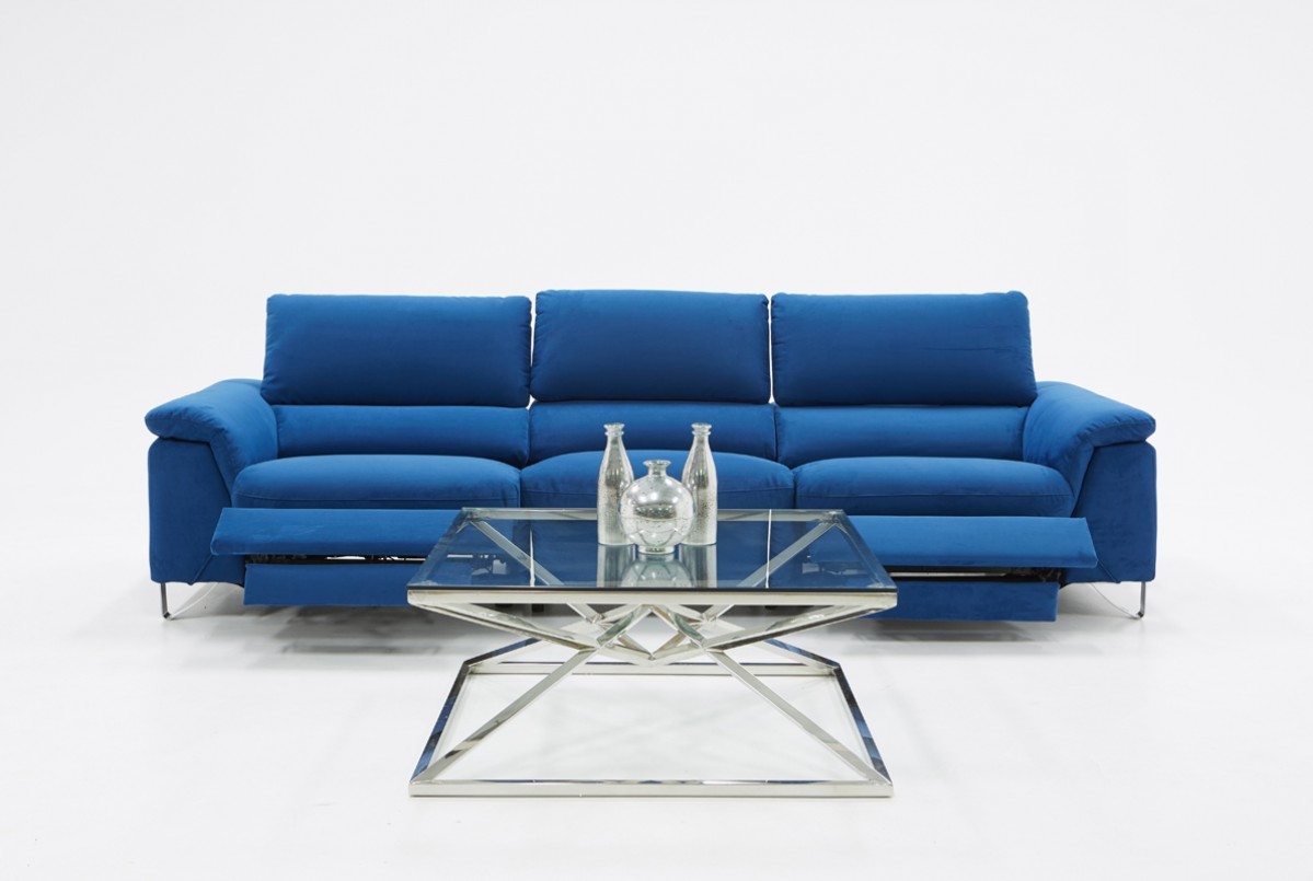 Divani Casa Maine Modern Blue Fabric Sofa W Electric