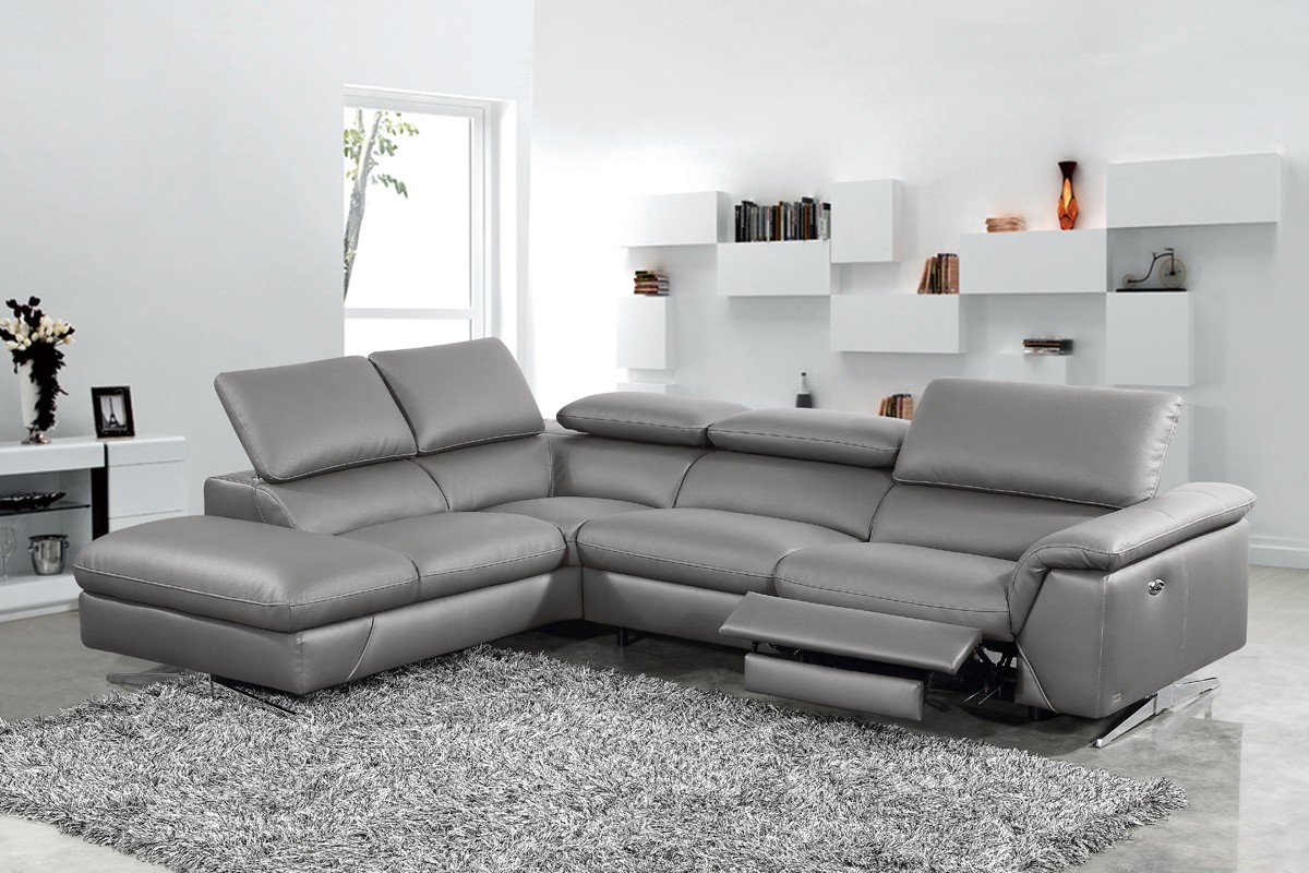divani casa maine modern dark grey eco leather sectional sofa w recliner. Black Bedroom Furniture Sets. Home Design Ideas