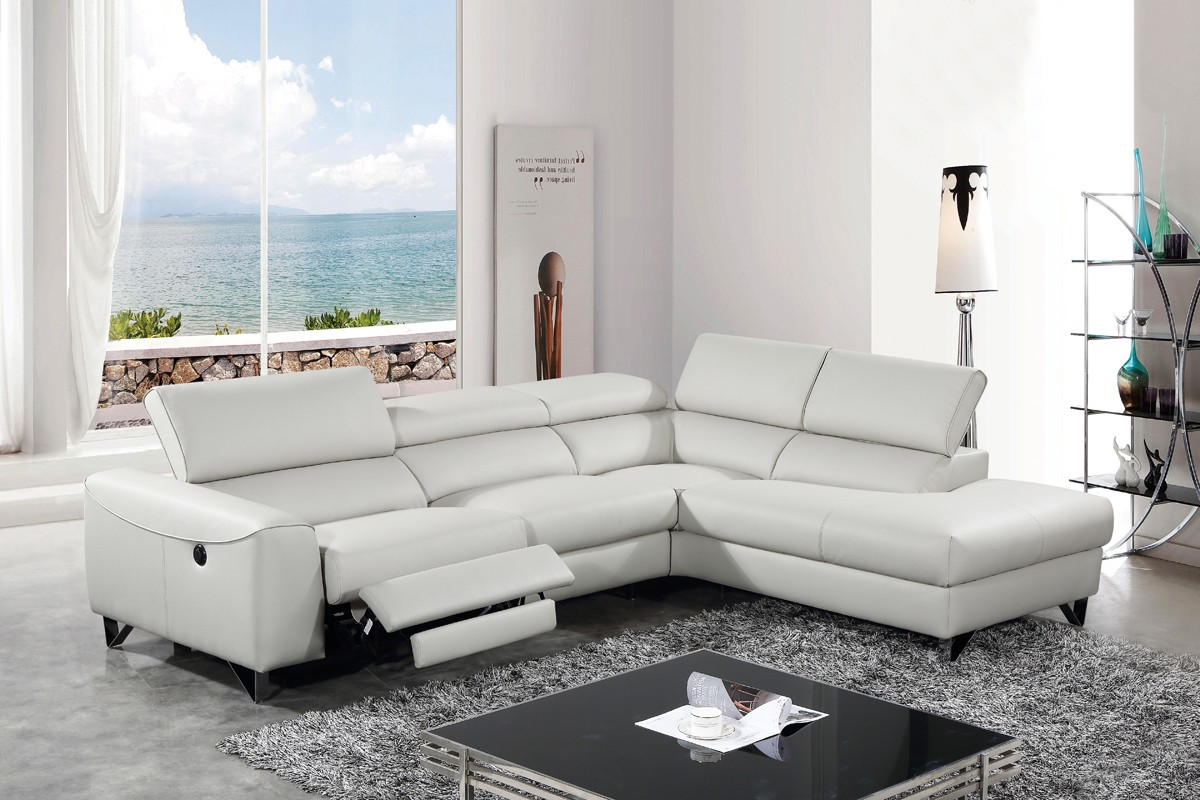 Divani Casa Versa Modern Light Grey Eco Leather Sectional W Recliner