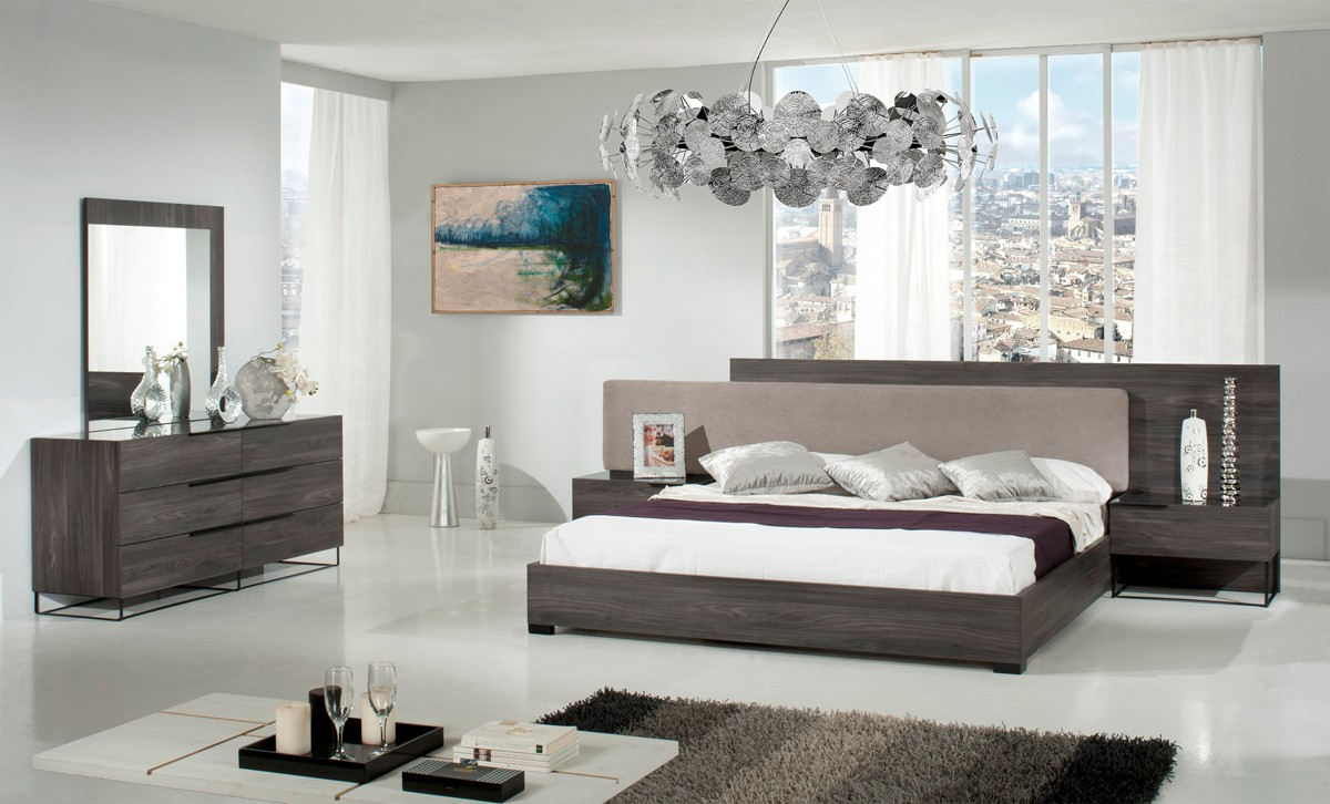 Modrest Enzo Italian Modern Grey Walnut Amp Fabric Bedroom