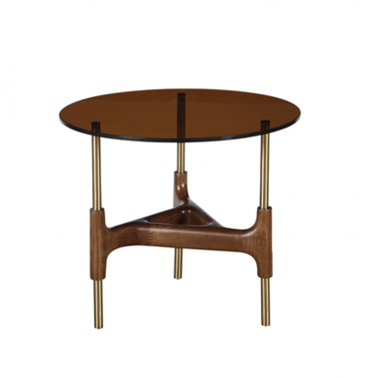 Modrest Lawson Modern Round Walnut & Glass End Table