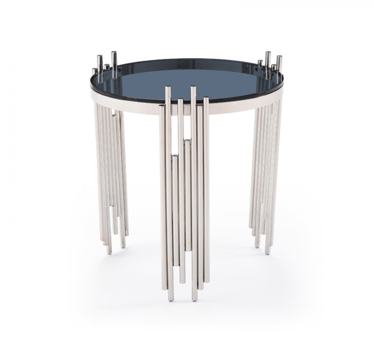 modern end tables - modrest totem modern stainless steel  smoked glass end table