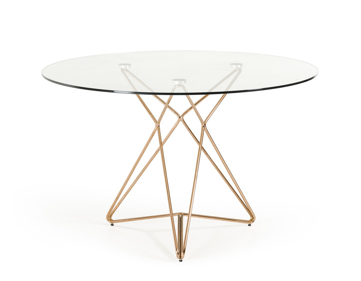 Modrest ashland modern glass round dining table for Round glass dining table