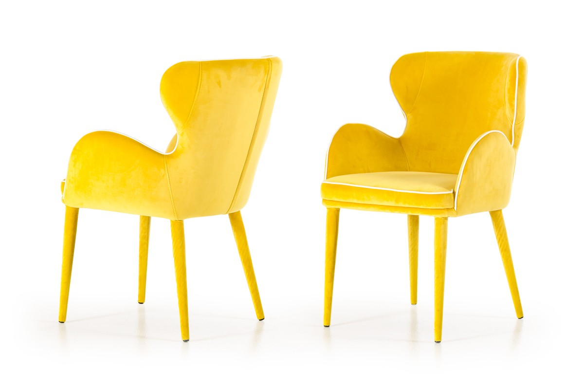 tigard modern yellow fabric dining chair - modrest tigard modern yellow fabric dining chair