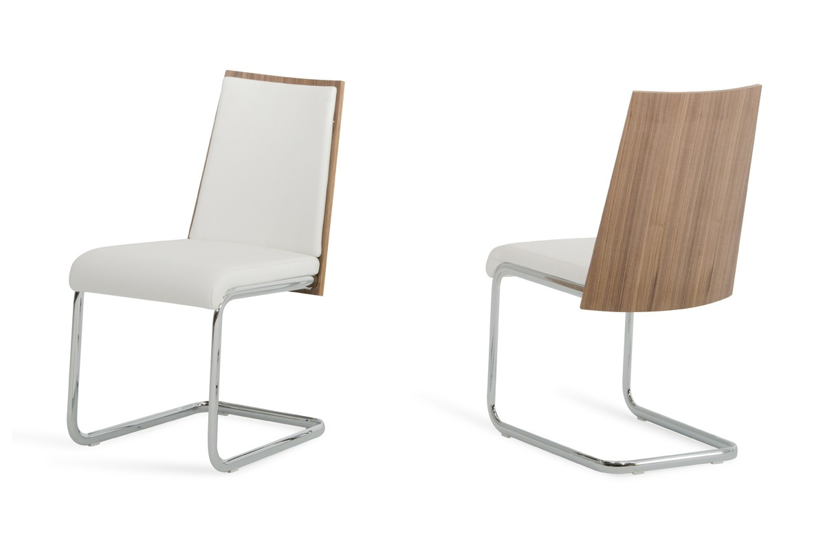 Morgan modern white walnut dining chair set of 2