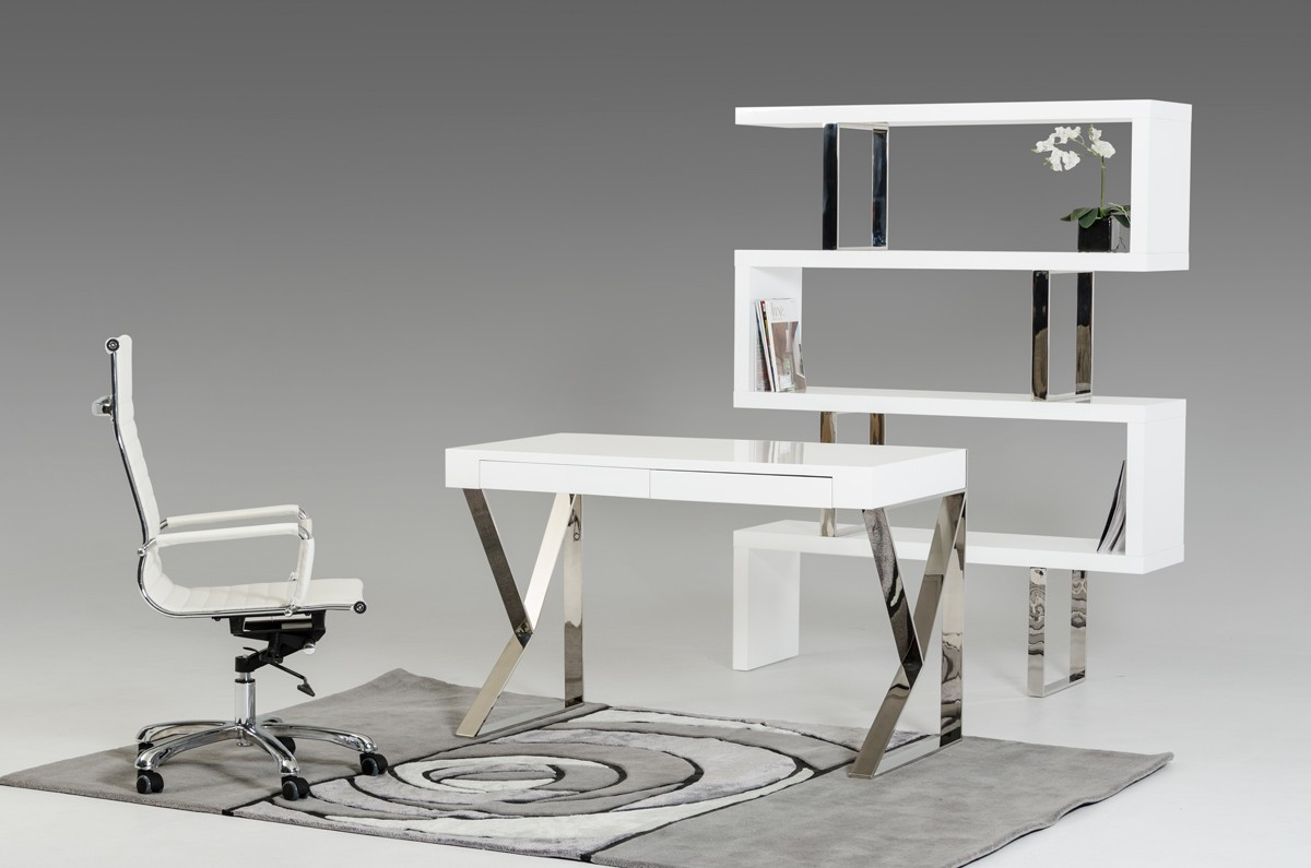 Charming Modrest Ferris Modern White Lacquer Office Desk ...