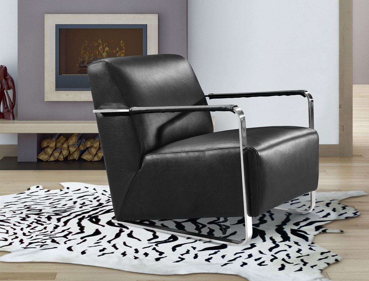 Picture of: Divani Casa Bison Modern Black Leather Lounge Chair Accent Chairs Accent Furniture
