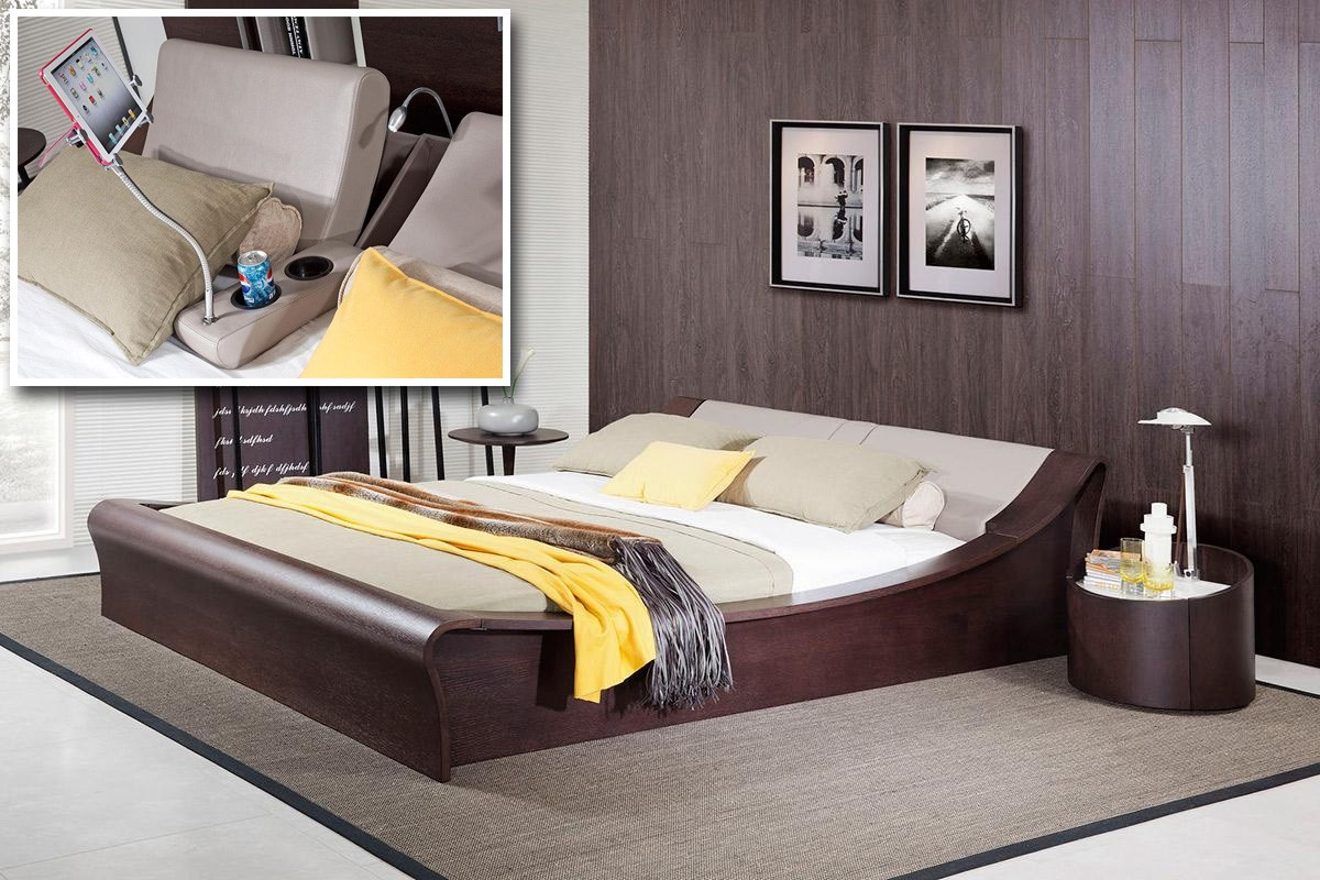 Charmant Geneva Contemporary Brown Oak Platform Bed W/ Lights, Cup Holders And IPad  Holder