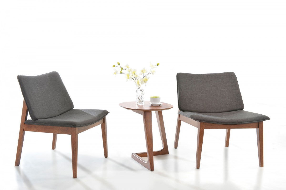 Modern Grey Fabric Dining Chairs: Modern Grey Fabric Accent Chair (Set Of 2