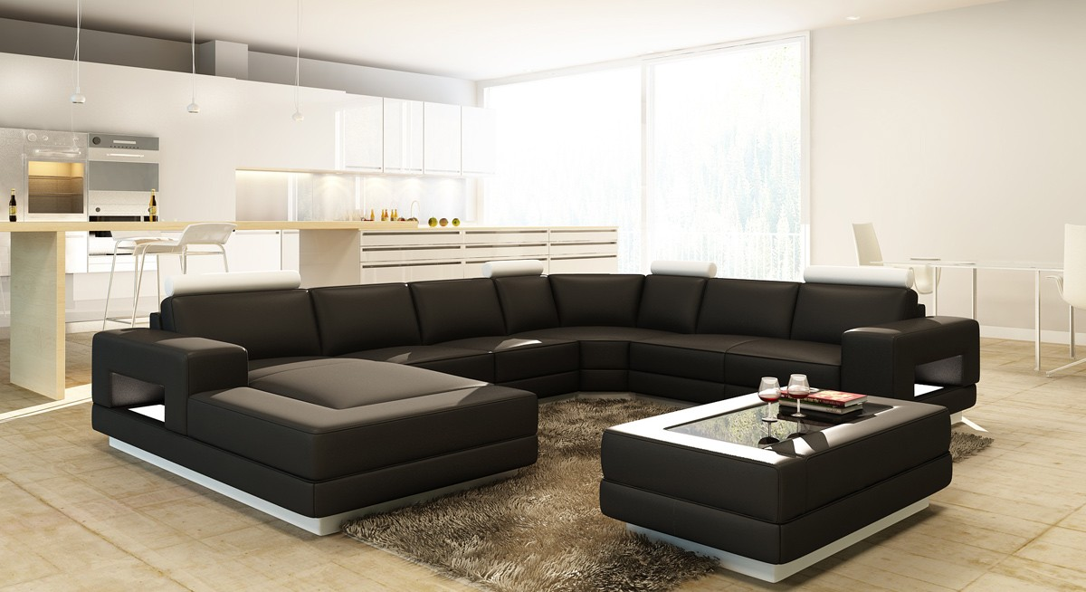 Divani Casa Pella Modern Bonded Leather Sectional Sofa