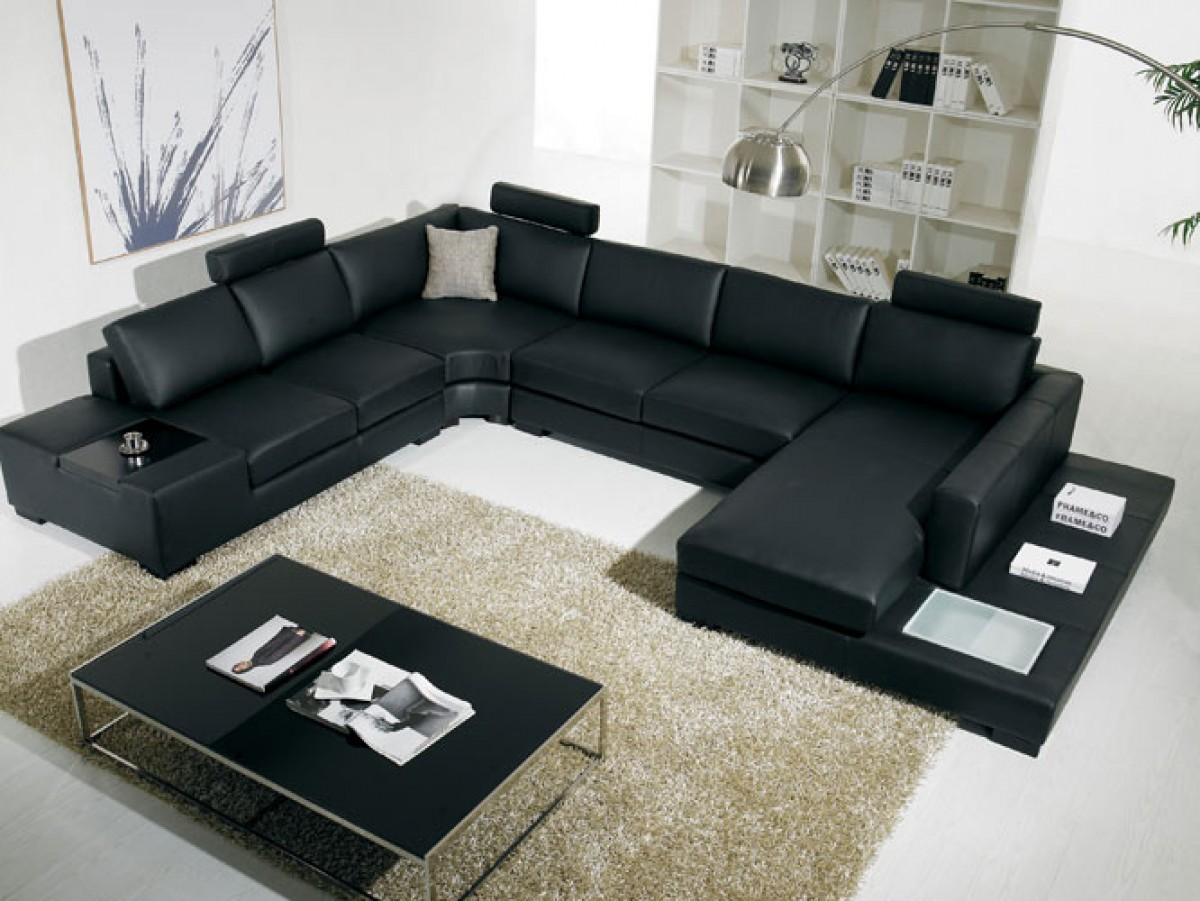 T35 Modern Black Leather Sectional Living Room Furniture ~ Modern Black Sectional Sofa