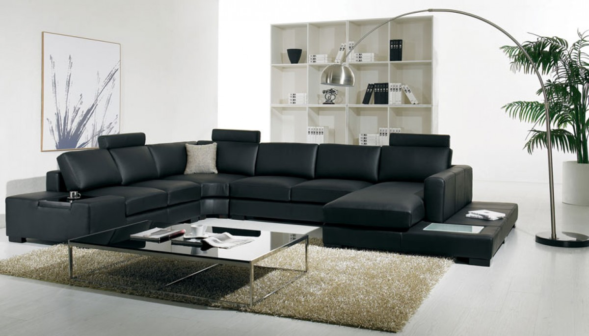 divani casa t  modern bonded leather sectional sofa with light . t modern black leather sectional living room furniture