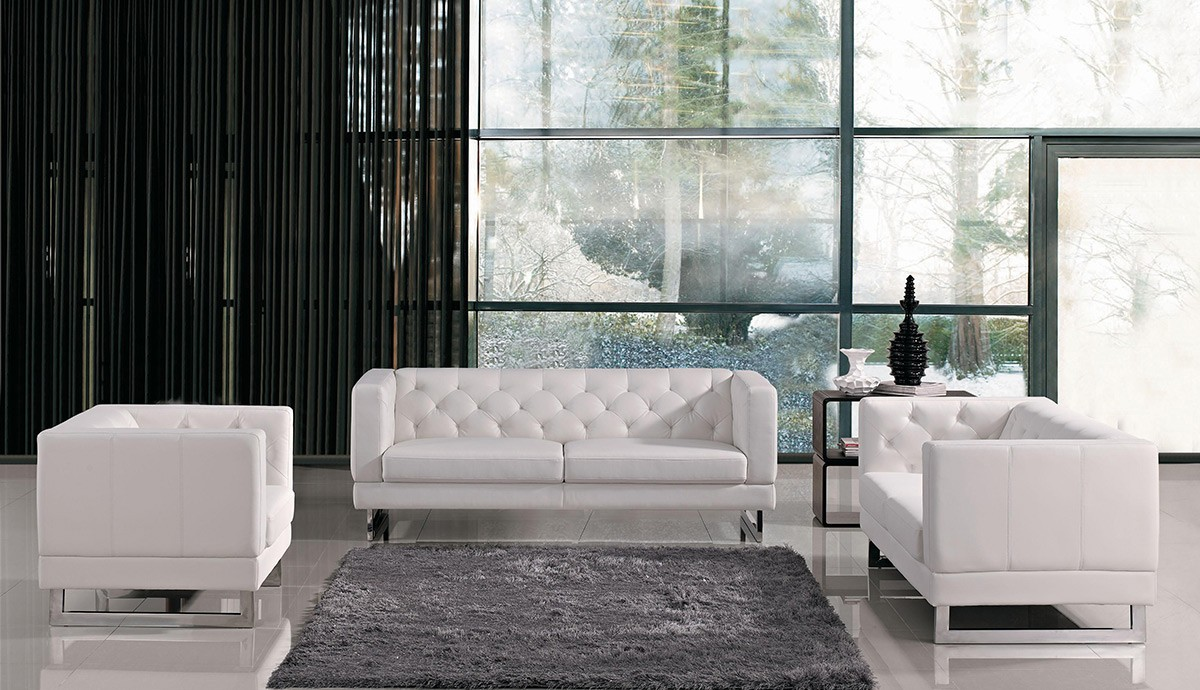 Divani Casa Windsor Modern Tufted Eco Leather Sofa Set