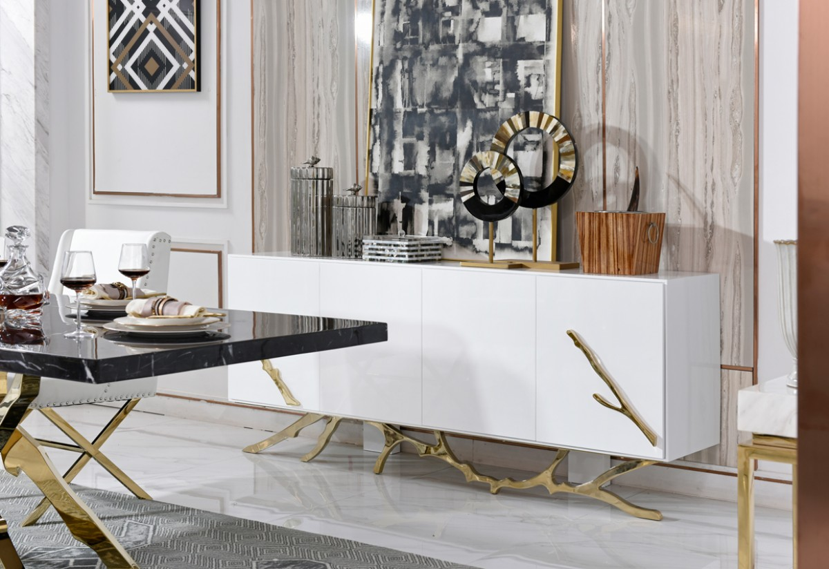 Modrest Legend Modern White Amp Gold Buffet