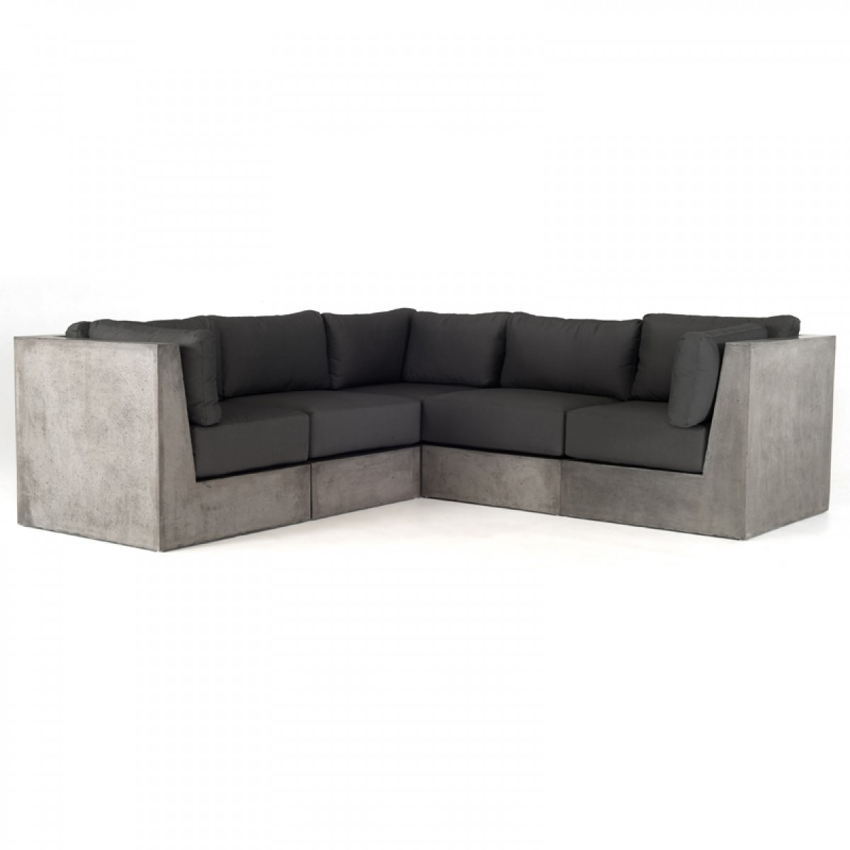Modrest indigo contemporary grey concrete sectional sofa for Contemporary sectional sofas