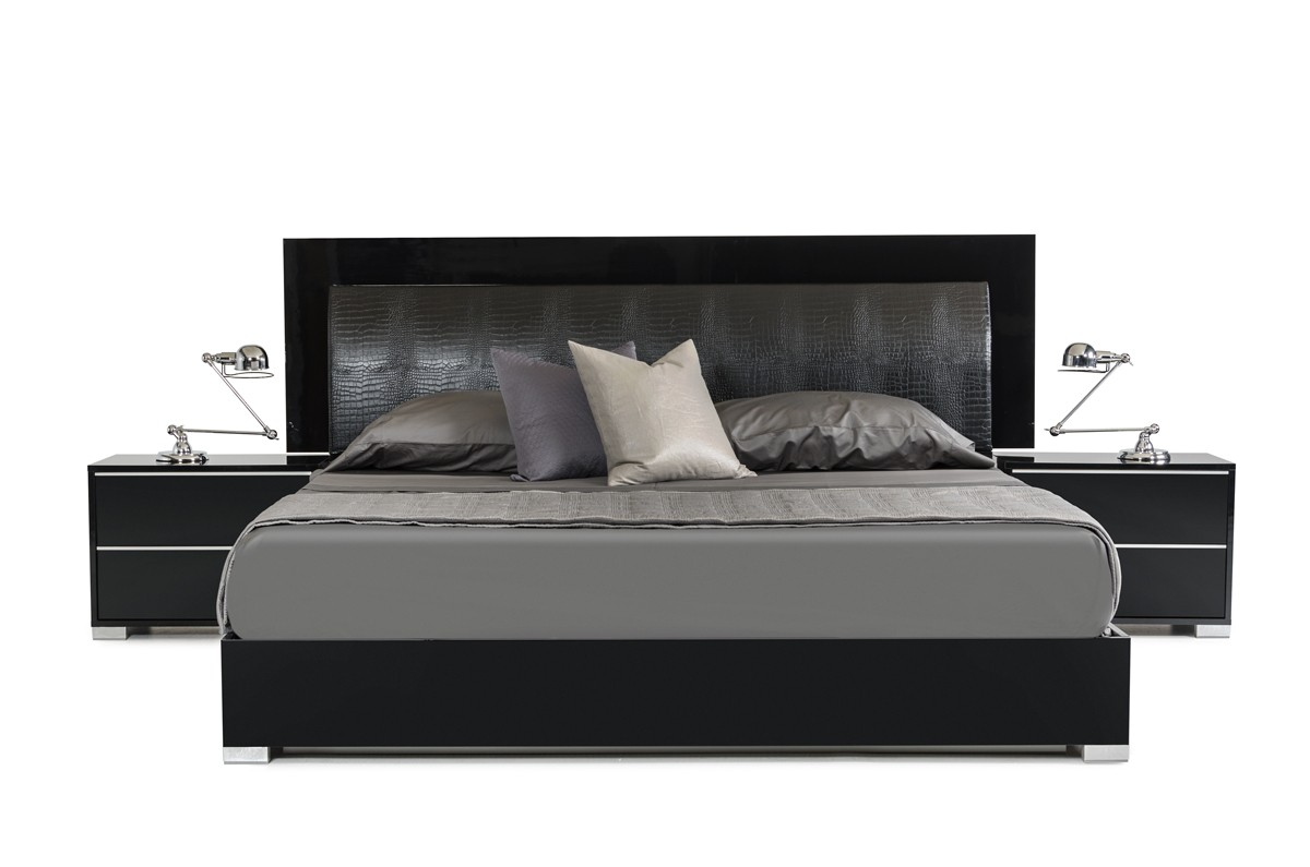 Modern black bedroom furniture - Modrest Grace Italian Modern Black Bed