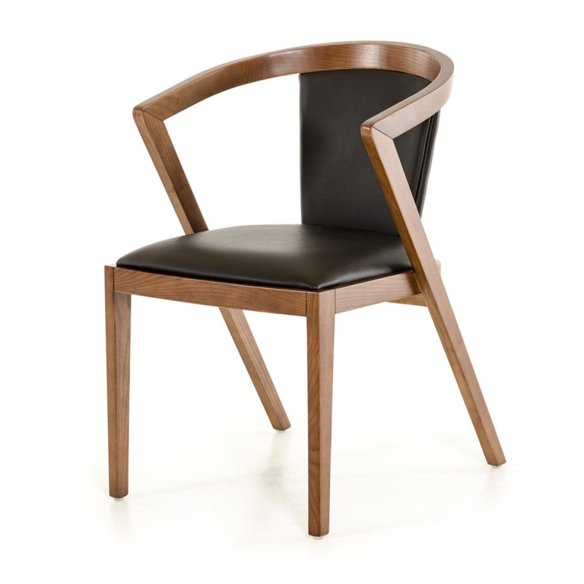 Modrest gregor modern black walnut dining chair for Contemporary furniture dining chairs