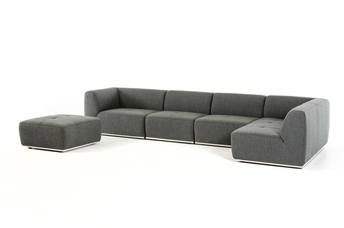 Divani Casa Hawthorn Modern Grey Fabric Sectional Sofa and Ottoman ...