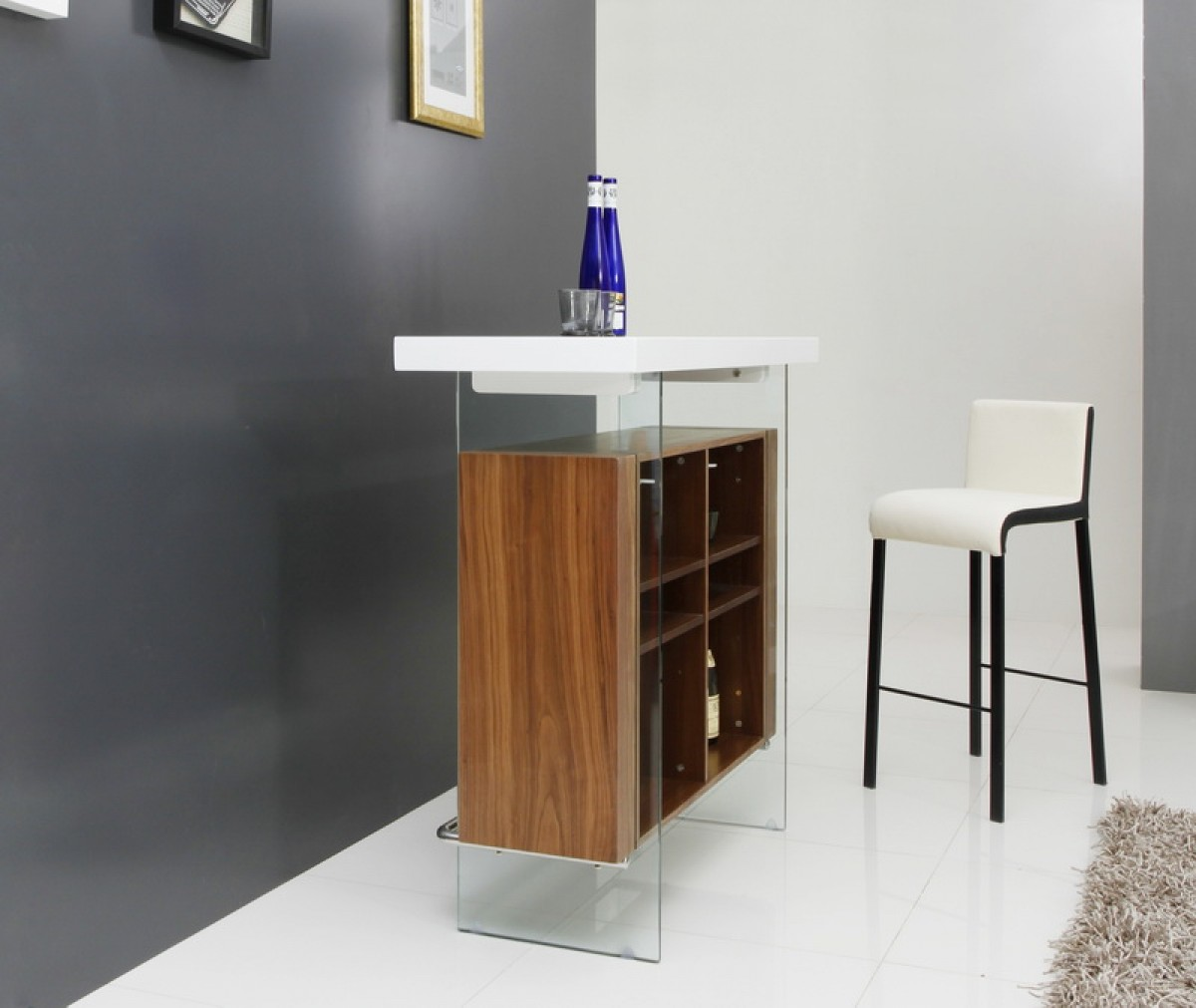Modrest Sven Contemporary White Amp Walnut Floating Bar Table