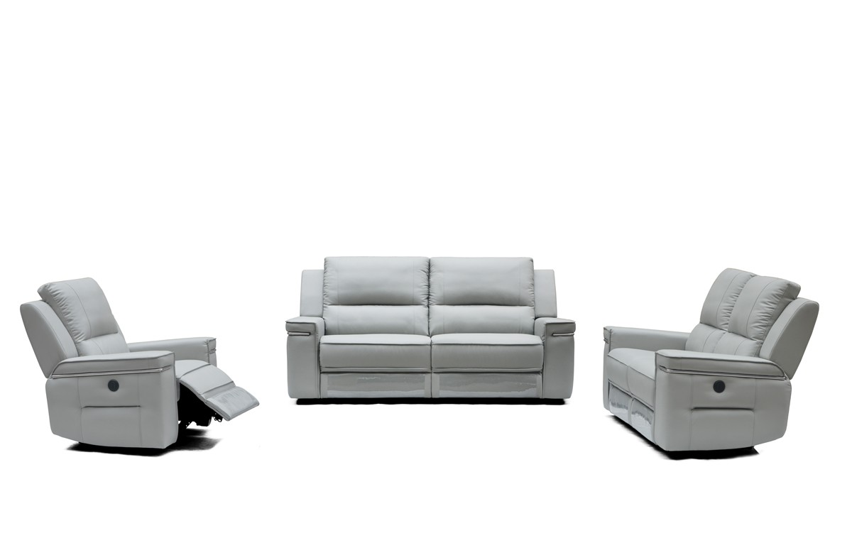 Divani Casa Hearst Modern Grey Leatherette Sofa Set w/ Recliners ...