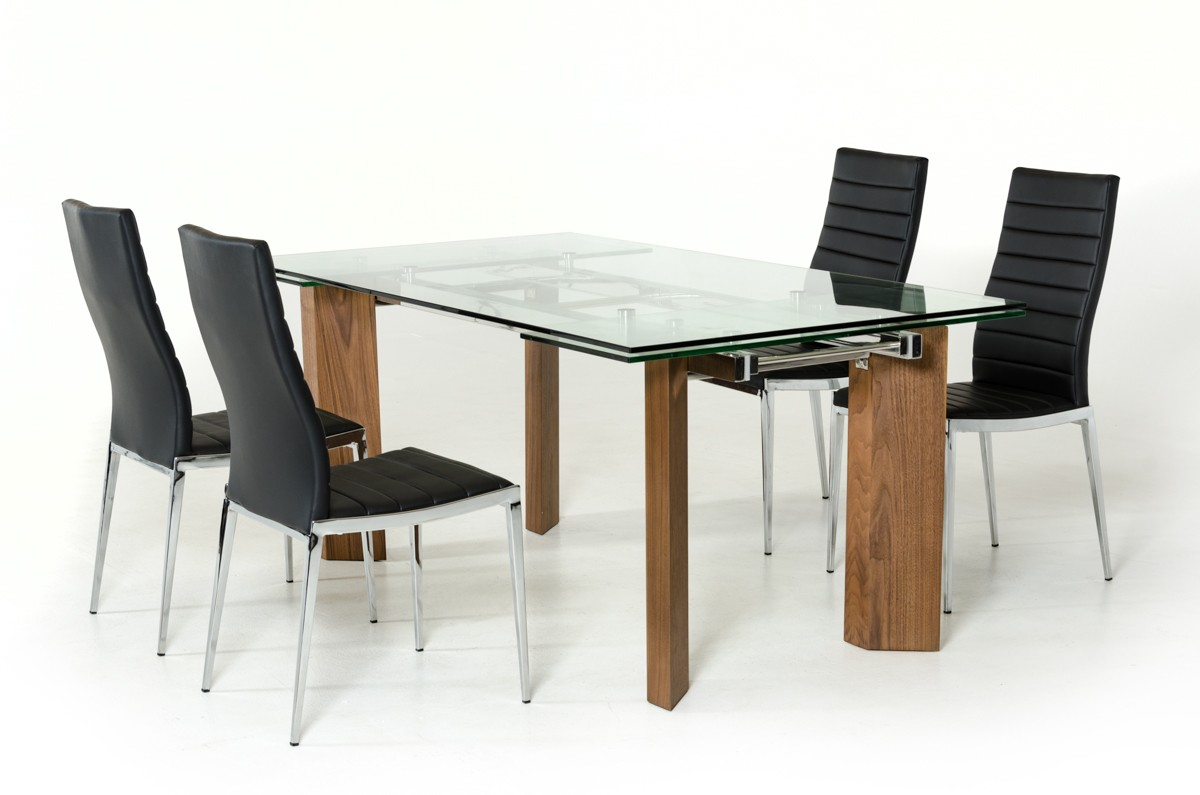 contemporary dining table modrest helena modern extendable glass dining table 31378