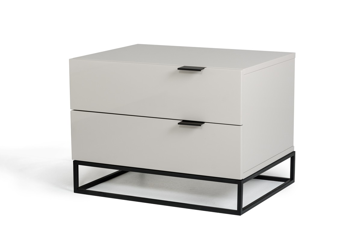 modrest hera modern grey nightstand  nightstands  bedroom - modrest hera modern grey nightstand