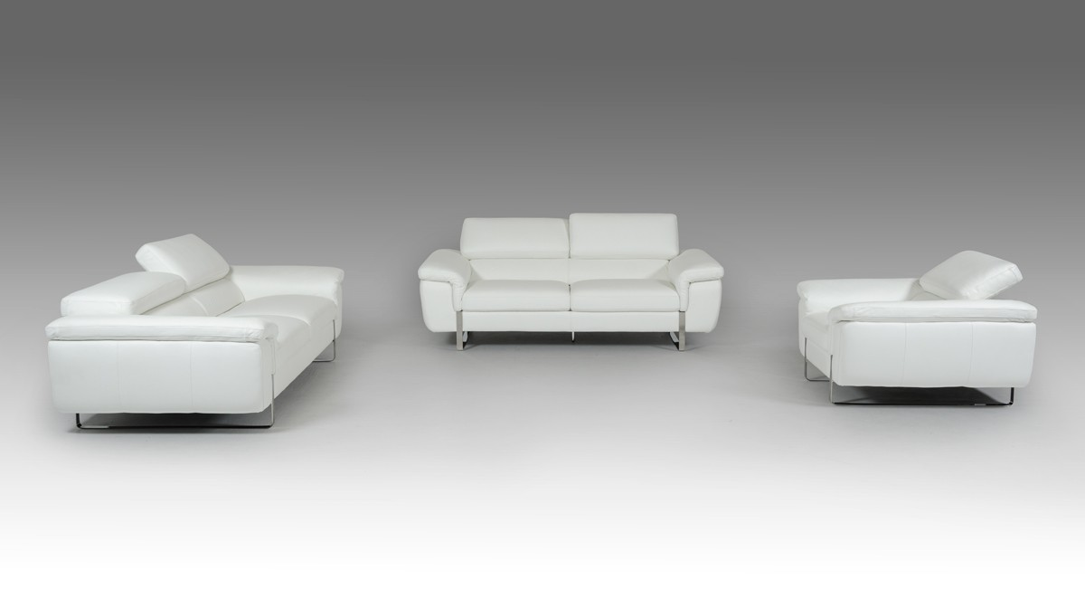 David Ferarri Highline Italian Modern White Top Grain Leather Sofa Set ...
