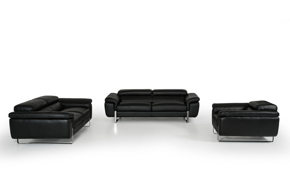 David Ferrari Highline Italian Modern Black Leather Sofa Set