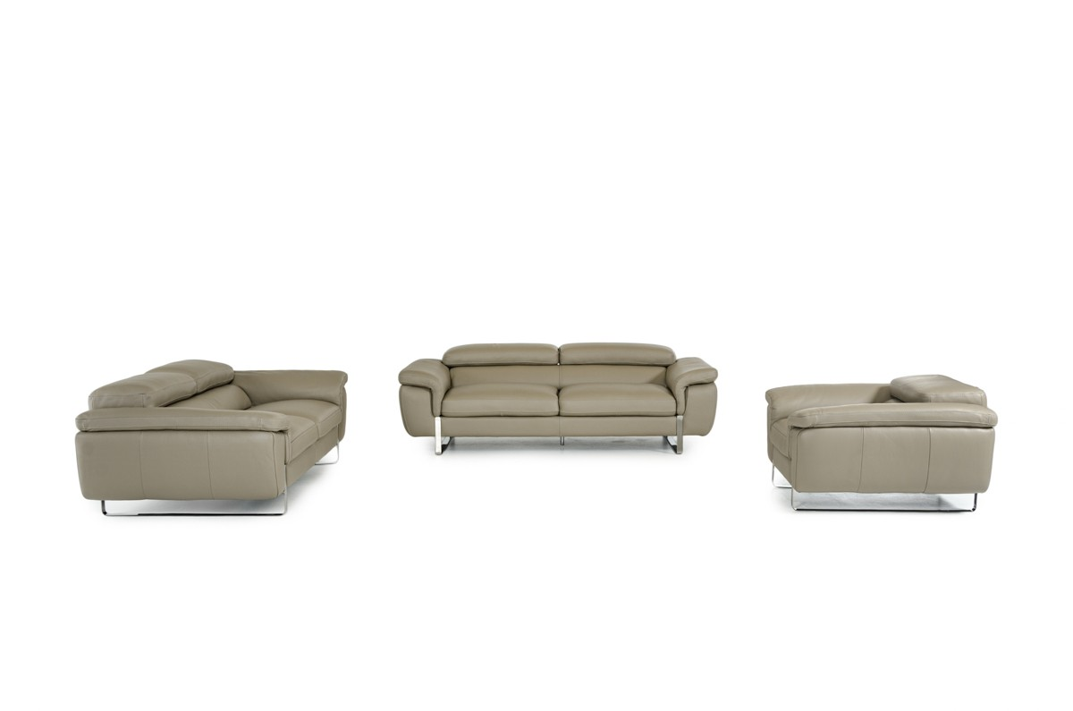 David Ferrari Highline Italian Modern Grey Leather Sofa Set - David ...
