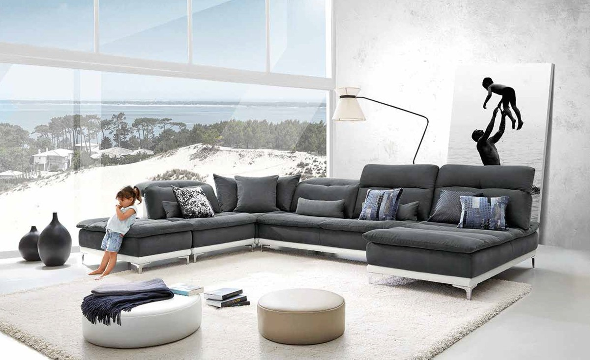 David Ferrari Horizon Modern Grey Fabric Leather Sectional Sofa - Gray leather sectional sofas