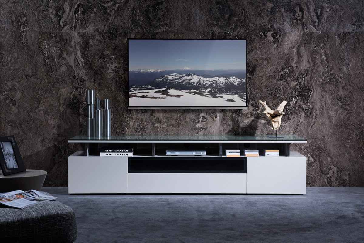 Modrest Hurst Contemporary Grey Gloss Tv Stand