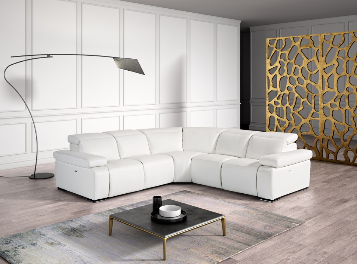 Estro Salotti Hyding Modern White Italian Leather Sectional Sofa ...