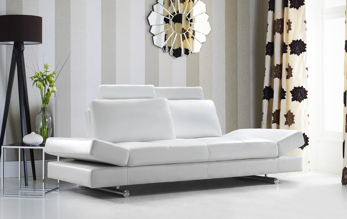 divani casa hymn modern white leather sofa with adjustable backrest - White Leather Sofa