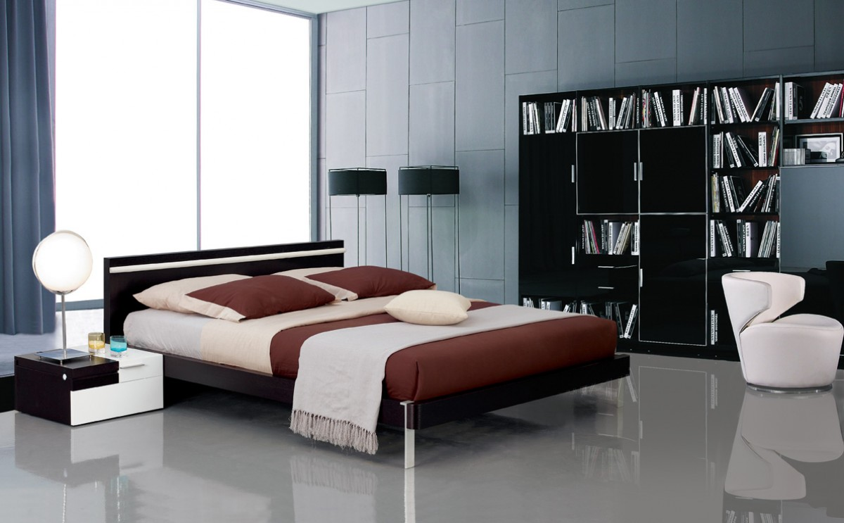 Modrest Mocha - Modern Bed with Headboard Light