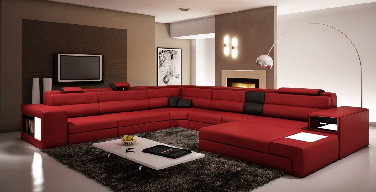 Divani casa polaris dark red bonded leather sectional sofa for Sofas modernos en l